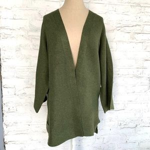 Cardigan sweater open front olive green knit long